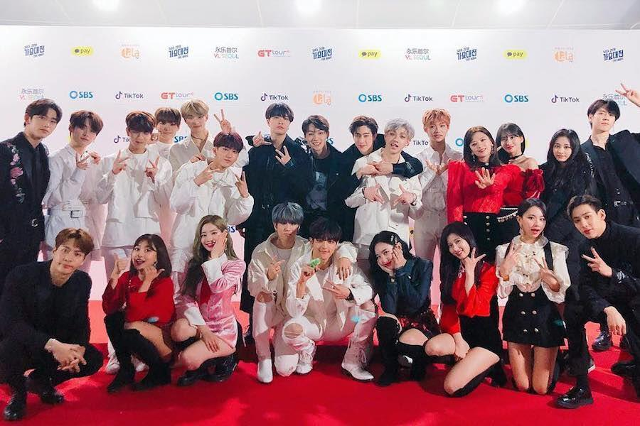 GOT7, TWICE, And Stray Kids Show JYP Family Love At 2018 SBS Gayo ...