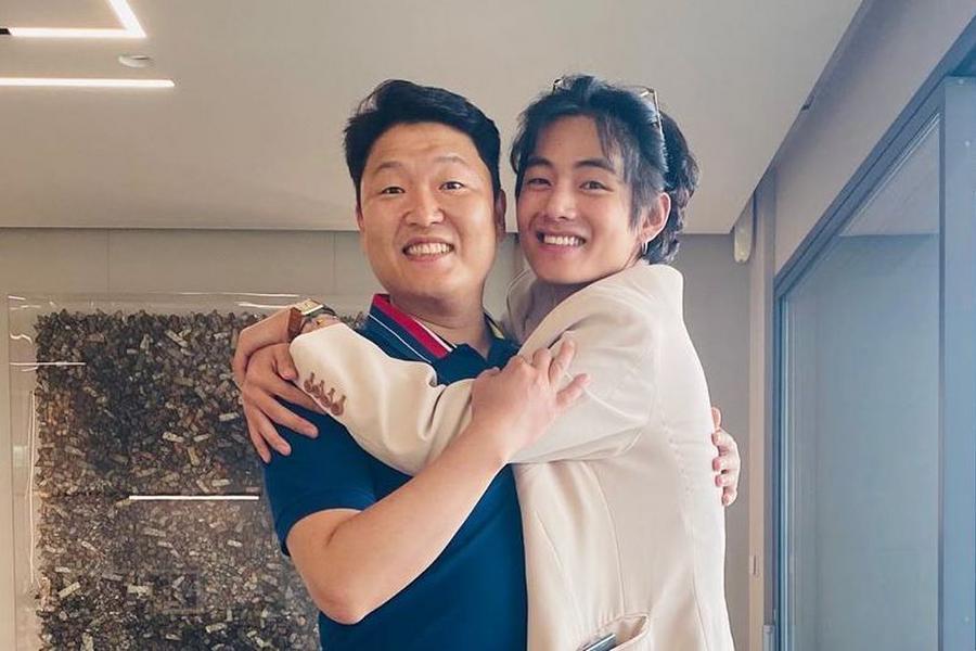 BTS's V Gives PSY A Big Hug In Photos