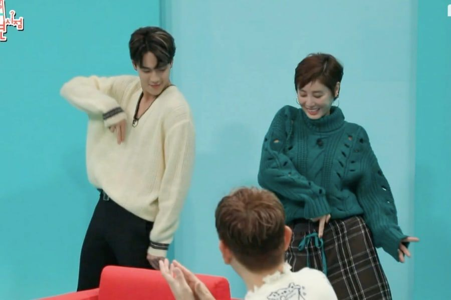 "Watch: MONSTA X's Shownu Dances To TWICE's ""Fancy"" And Sunmi's ""Gashina"" With Kim Sung Ryung"