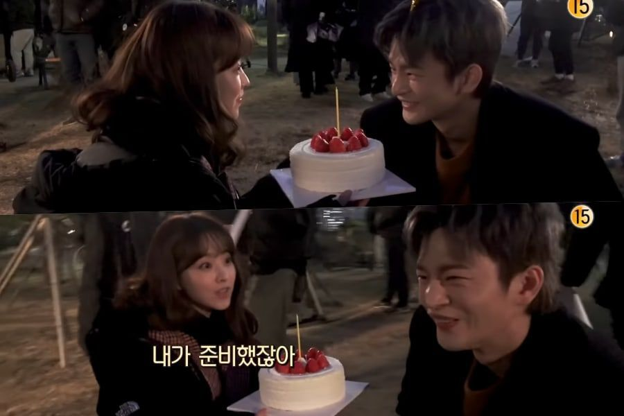 """Watch: Park Bo Young Jokes Around With Seo In Guk's Cake Behind The Scenes Of """"Doom At Your Service"""""""