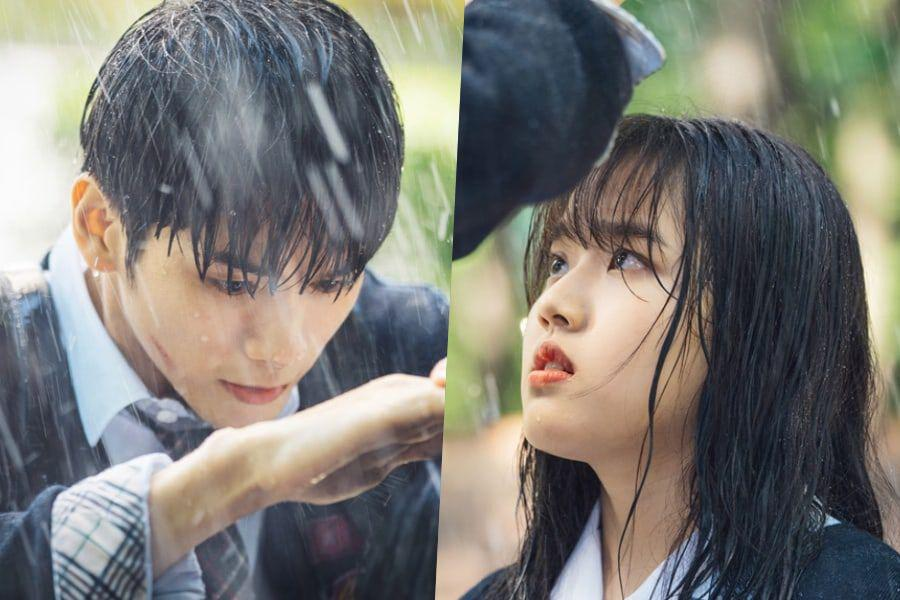 """Ong Seong Wu Makes Hearts Race As He Shields Kim Hyang Gi From The Rain In """"Moments Of 18"""""""