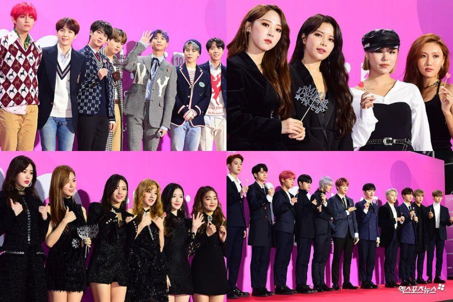 Stele luminează Covorul roșu cu aspectul chic la primele 2018 Melon Music Awards