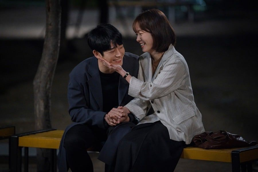 "Jung Hae In And Han Ji Min Share Sweet Moment In Behind-The-Scenes Stills Of ""One Spring Night"" Kiss"