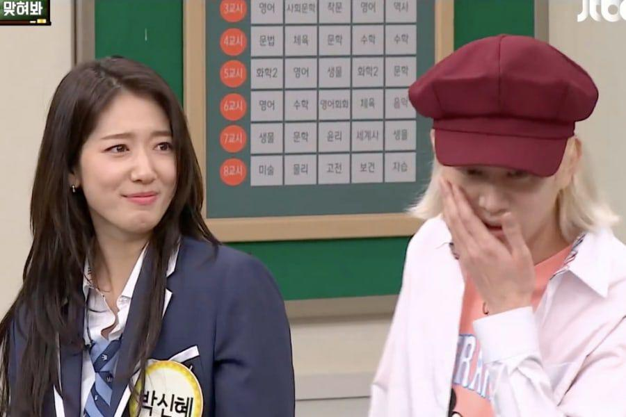 Watch: Park Shin Hye Demonstrates How Actors Fake-Slap Each Other On Camera With Super Junior's Heechul