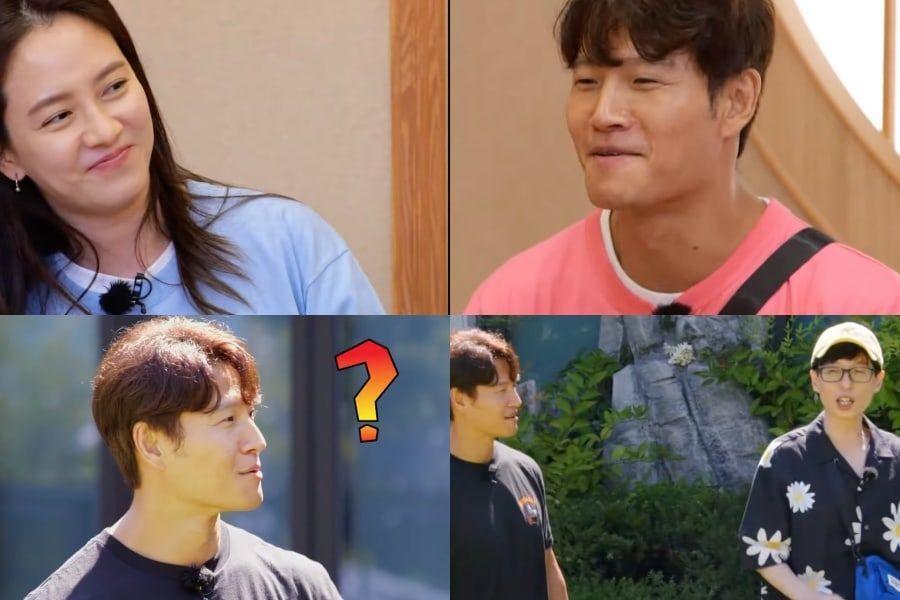 "Song Ji Hyo Joins Yoo Jae Suk In Teasing Kim Jong Kook About Their ""Love Line"" On ""Running Man"""