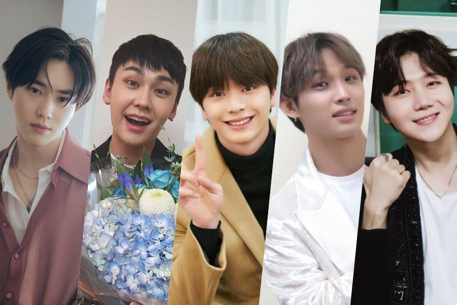 Suho de EXO, Ilhoon, Yook Sungjae, Hyunsik de BTOB y Jinho de PENTAGON, posan en nuevas fotos del ejército