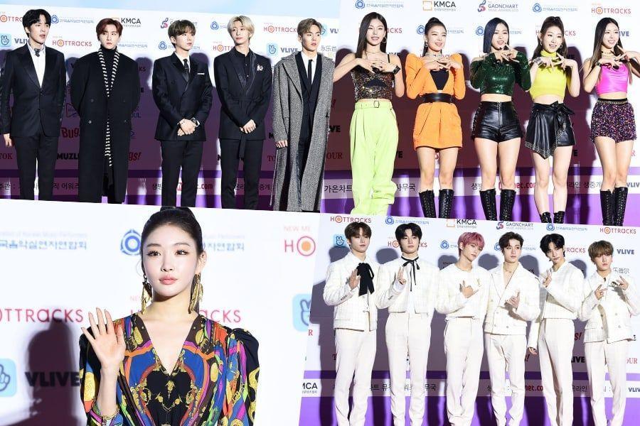 Stele scânteie pe covorul roșu pentru premii pentru muzica din 9 Gaon Chart