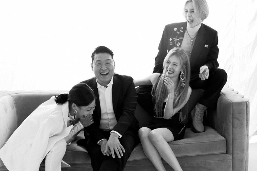 Jessi, PSY, HyunA, And Hyojong Share Laughter In P NATION Family Portraits