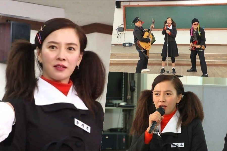 "Song Ji Hyo Transforms Into '80s Schoolgirl And Lead Singer Of A Band For ""Running Man"""