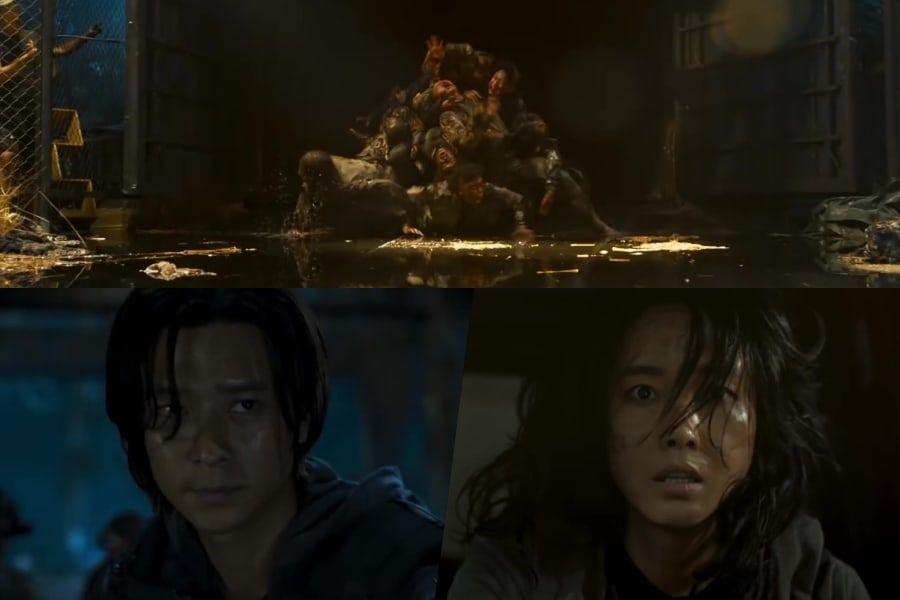 """Kang Dong Won y Lee Jung Hyun sufren en la tierra en ruinas de humanos salvajes y zombis hambrientos en el tráiler de """"Peninsula"""""""