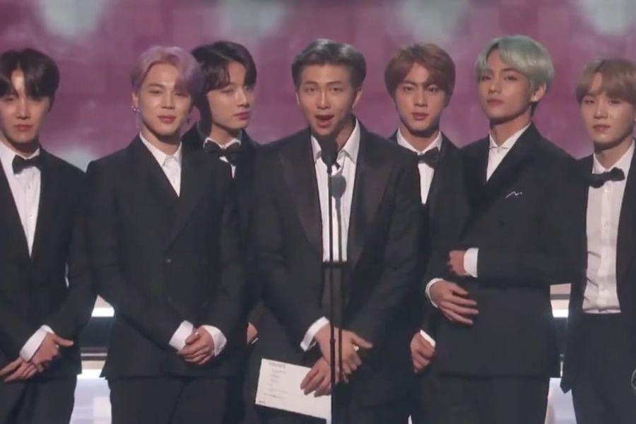 BTS sube al escenario por primera vez en los premios Grammy como presentadores con la promesa de regresar