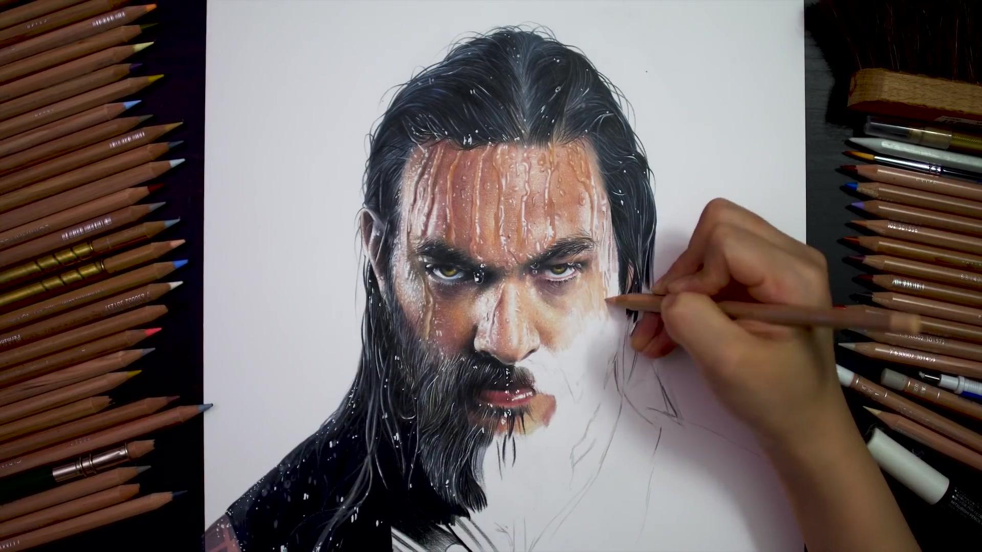 Drawing Hands Episode 108: Drawing Aquaman _Jason Momoa [Drawing Hands]