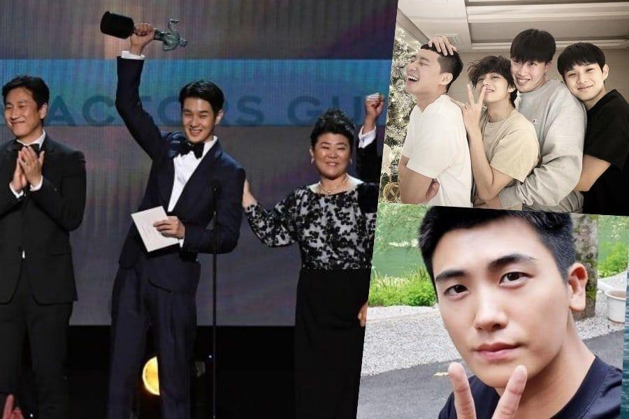 BTS's V, Park Seo Joon, Park Hyung Sik, And Peakboy Congratulate Choi Woo Shik On Win At SAG Awards