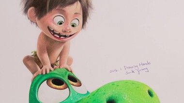 Drawing Hands Episode 99: Speed Drawing Arlo & Spot From 'The Good Dinosaur'